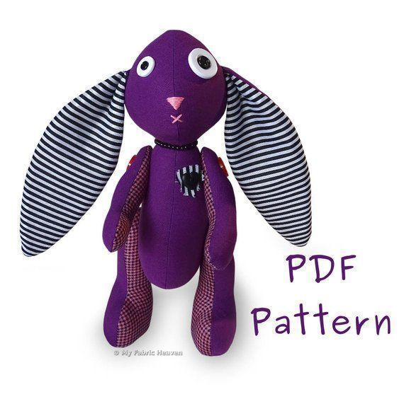 "Amethyst Bunny 11"" Gothic Rabbit PDF Sewing Pattern  #myfabricheaven #sewing #handmade #flockbn #tweetuk #KPRS #SNRTG #eshopsuk #BTRTG"