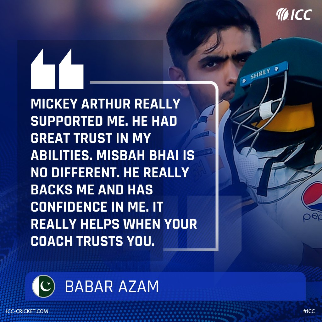 Pakistan captain Babar Azam has stressed on the importance of having a good relationship with the coach.