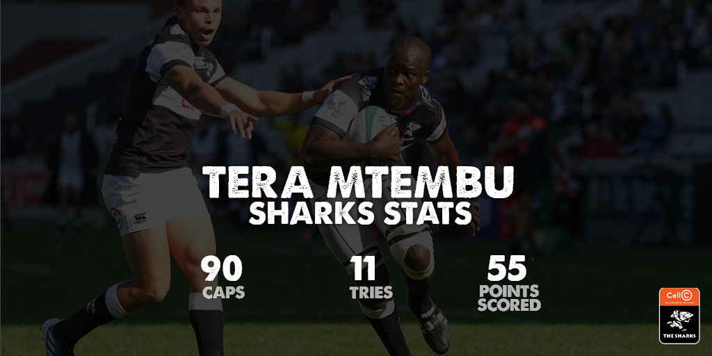 Tera Mtembu joined The Cell C Sharks in 2010, and made his Vodacom Super Rugby debut against the Stormers in 2012 . Let's take a closer look at some of his fin'omenal career stats whilst proudly representing the black and white jersey over the years 🦈 #OurSharksForever