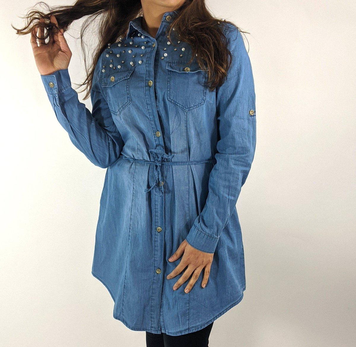 Limited stock left in these pearl detailed denim shirts! 😍 DM to place an order or for more information - PayPal & Bank Transfer accepted . #instalove #instablog #instafashion #fashion #naqsh #naqshonline #follow #trending #love #fashionblogger #blog #blogger #denim #shirt #top