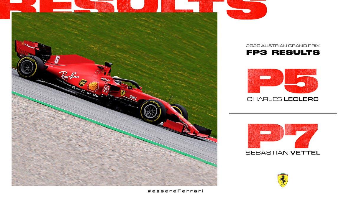 #AustrianGP practice in the bag 💼  @Charles_Leclerc P5 1:04.703 #Seb5 P7 1:04.851  #Quali soon 💪  #essereFerrari 🔴 #FP3 https://t.co/vFkIQPpn0d