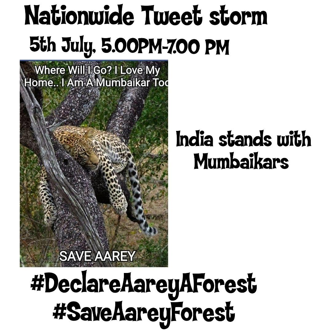 #Day1089 Join the tweet storm tommorow from 5PM to 7PM. Use hashtags #DeclareAareyAForest  #SaveAareyForest  #Mumbai https://t.co/f22CS13Bz1