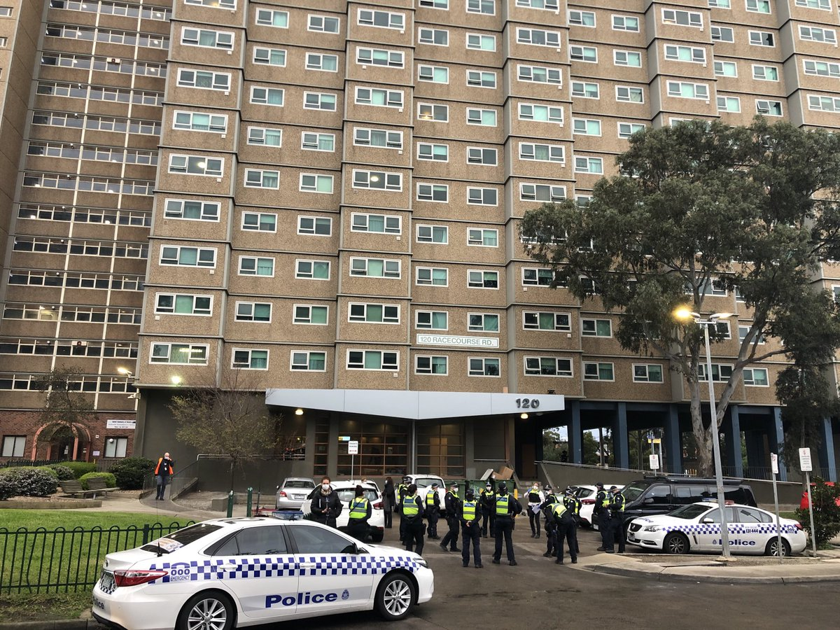 BREAKING: Police are arriving at the housing commission estates in #Flemington - this is one of nine estates to be immediately locked down, after revelations 23 people have tested positive for COVID-19 from 12 separate families. ⁦@7NewsMelbourne⁩
