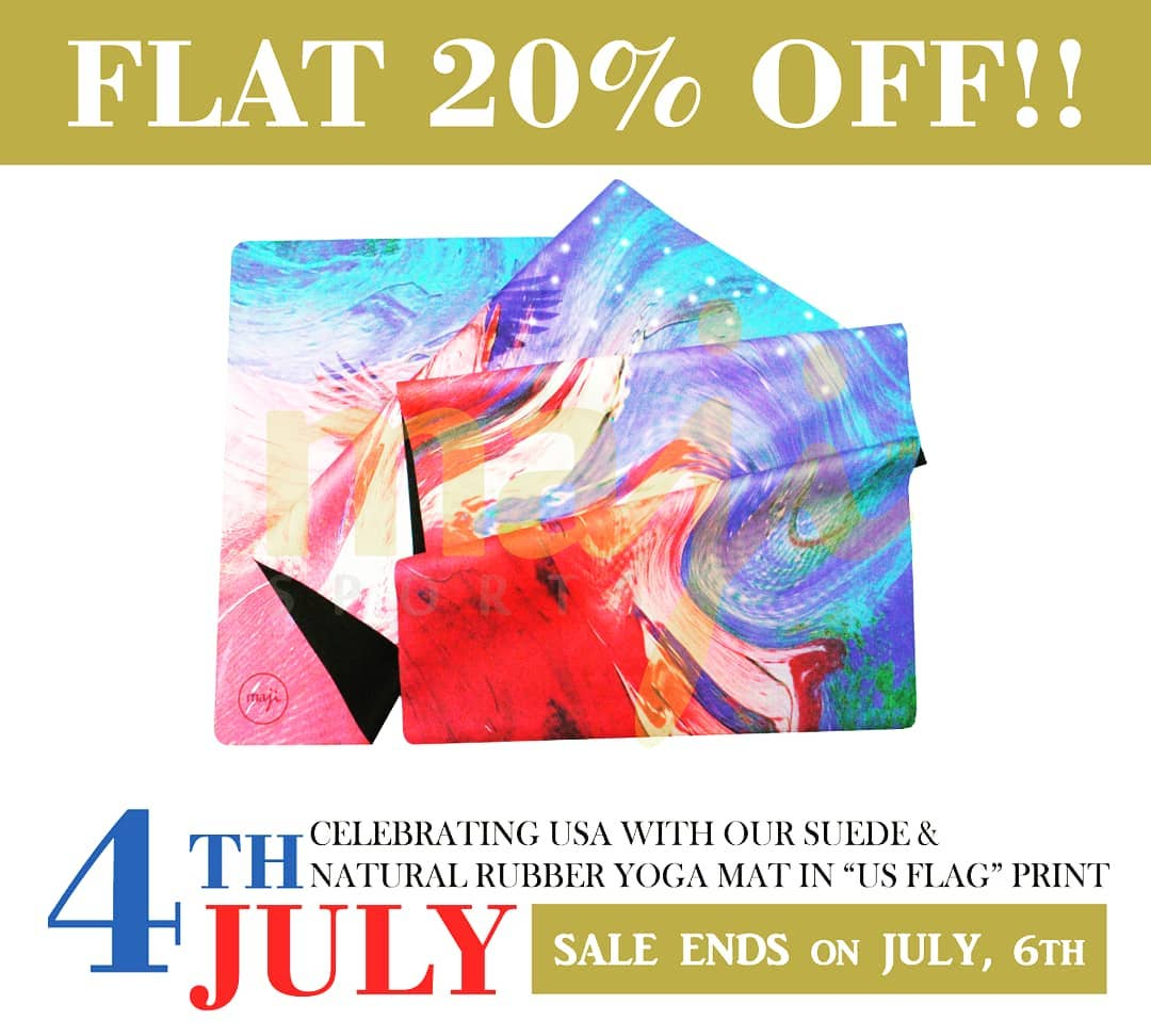 """Have you tried our SUEDE & NATURAL RUBBER #yoga & #EXERCISEMATS? . . TRY our print """"US FLAG"""" in the #mat now for best offers as our #4thofJuly2020 SALE continues until 6th July'2020! #peace #majisports #yogajourney #yogaposes #healing #selfcare #balance #selflove #hathayoga https://t.co/7rPZBb0yEx"""