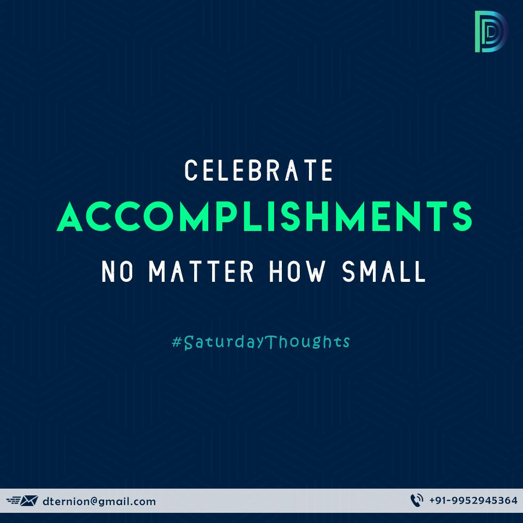 Always celebrate even your little achievements.  . . #motivation #quotes #motivationalquotes #lifequotes #accomplishments #celebration #littleachievements #everythingmatters #business #startuplife #startups #businessthoughts #saturdaythoughts #digital #design #develop #dternion https://t.co/3UUBqgZZ9C