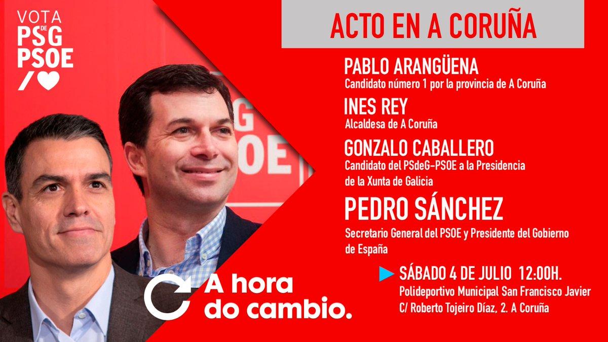🌞 ¡Bos días!  Hoy, todos pendientes de #Galicia... ...¡Está nuestro secretario general y presidente del Gobierno @sanchezcastejon! 🔝🔝🔝  En A Coruña, apoyando a @G_Caballero_M.  Non o perdas ‼️  📲 Conéctate ás nosas redes!  ▶️https://t.co/Wc2LVhJgnO  #AHoraDoCambio 🌹 https://t.co/xrhAuSRKVZ