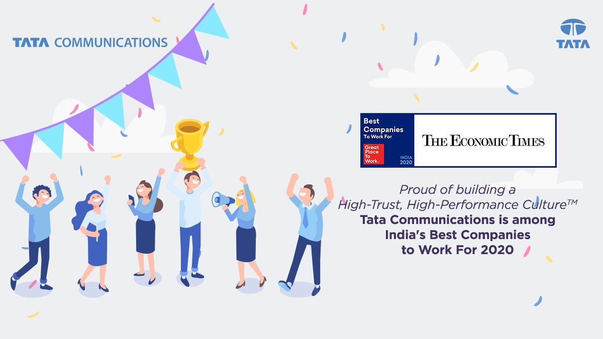 The celebration never stops for #TeamTataComms! Proud to be recognised as one of India's Best Companies to Work For, 2020 by @GPTW_India for the 4th time in a row. @EconomicTimes https://t.co/wd9cZBQO35