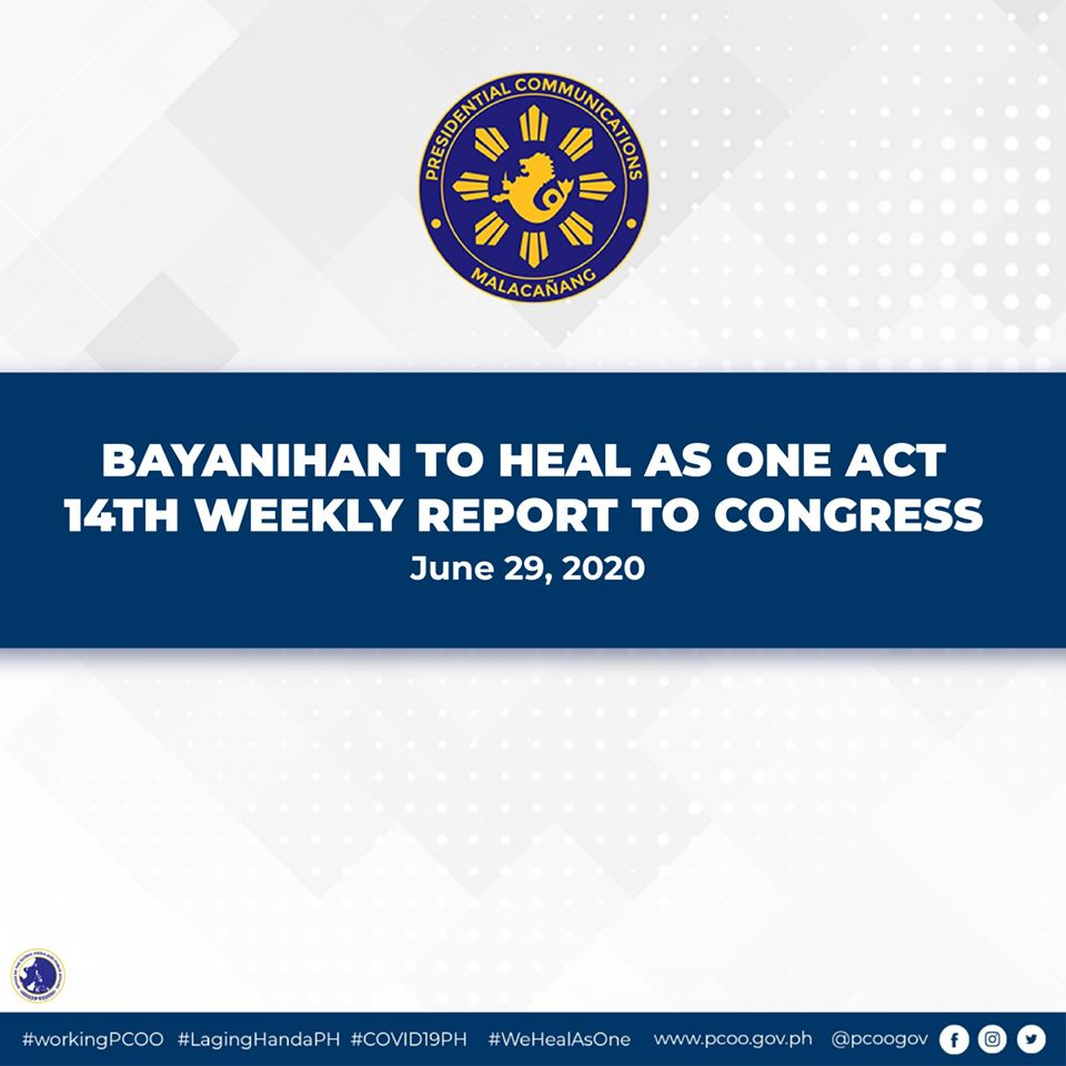 LOOK: Here are the highlights of the 14th weekly Report of the President to the Joint Congressional Oversight Committee last June 29 2020, pursuant to Section 5 of the Bayanihan to Heal As One Act.  #LagingHandaPH #COVID19PH #WeHealAsOne #workingPCOO https://t.co/TGibjRpjuT