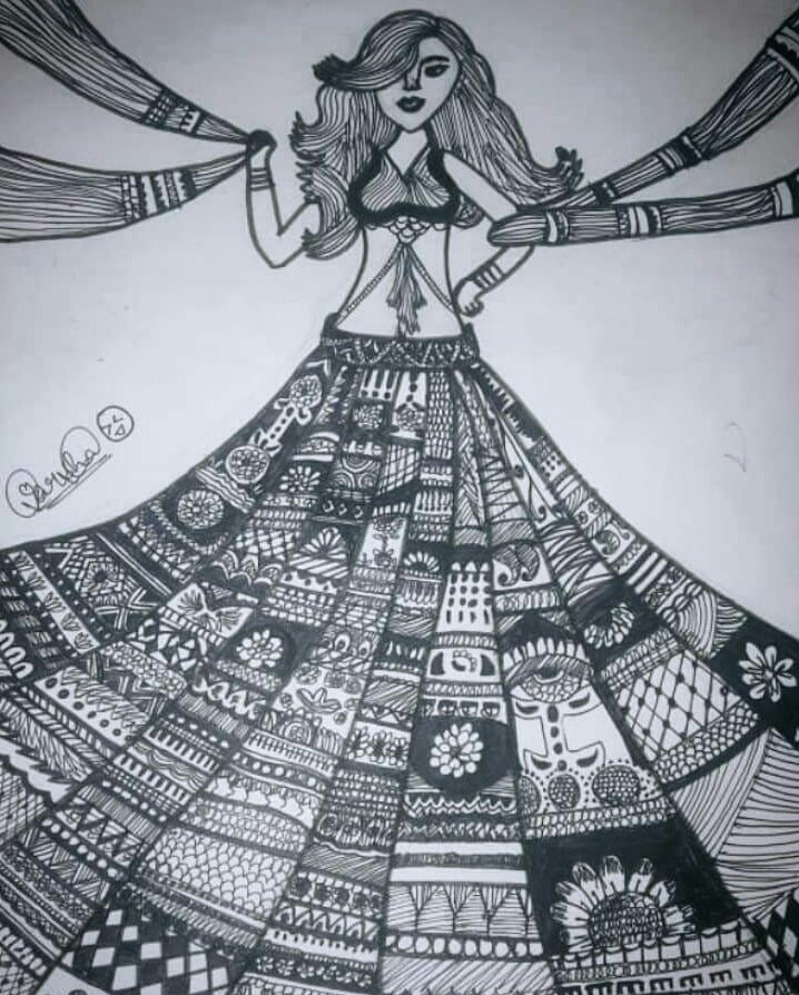 "Can u buy me this lehenga...?? Art isn't a talent. It's an experience.""...its just a journey of a free soul ... . . .  #mandala #mandalas #mandala_sharing_ #mandalaart #drawingfeatureme #drawing #art #artist #share #drawthisinyourstyle #mandaladrawing #black #insta #instalove"