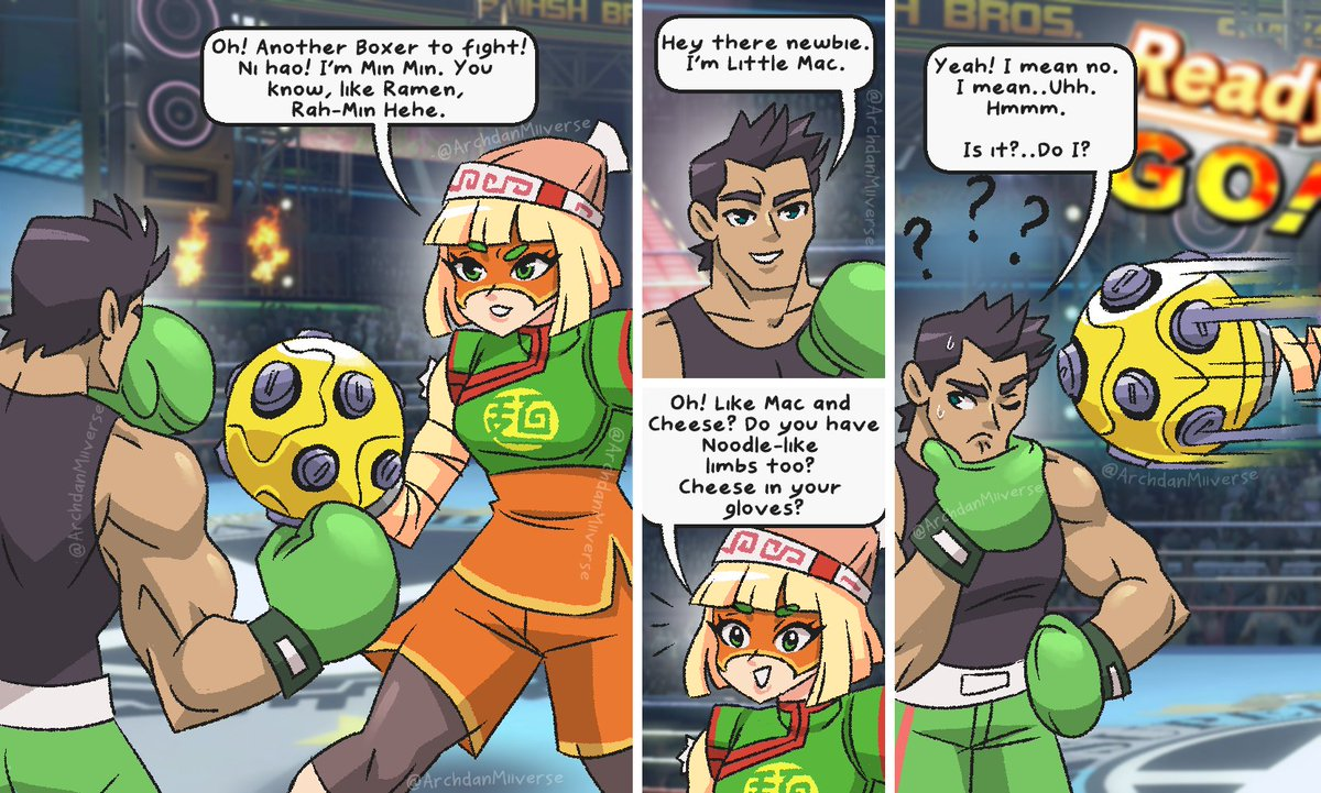 Min Min meets Little Mac. Min Min is so used to weird and wacky boxers she just kinda expects the weird.   #SmashBros #SmashBrosUltimate #SuperSmashBros #SmashUltimate #SuperSmashBrosUltimate #Nintendo #NintendoSwitch #ARMS #minmin <br>http://pic.twitter.com/3HWlk7QTmQ