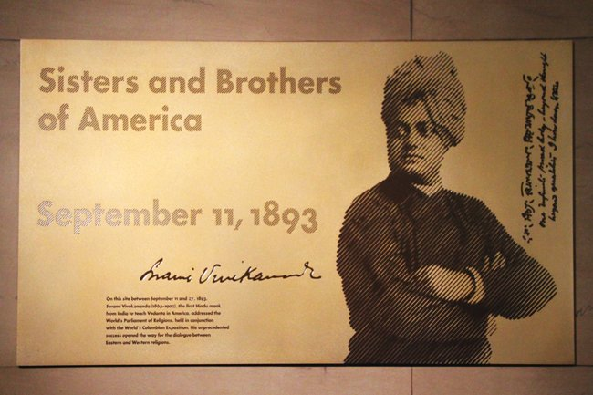 "Well not only this. The Chicago Art institute also established a bronze plaque on Sept 11, 1995 of Swamiji at same place.  Outside the institute a lane is named after him called as ""Swami Vivekananda Way."" Read all details here;  https://t.co/6Fp4nM45g6 https://t.co/gLJ62HMbIT"