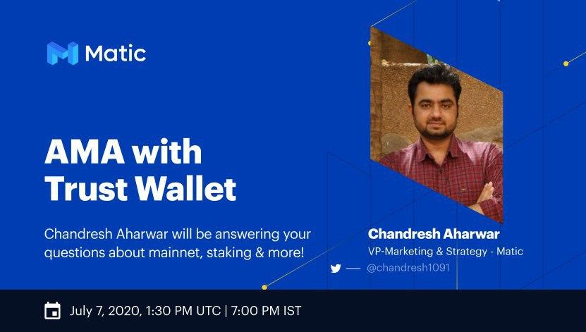 Join us on July 7th at 7:00 PM IST for our AMA with @TrustWalletApp. Our VP of Marketing & Strategy @chandresh1091 will join the Trust Wallet telegram for an AMA. There will be $100 in $MATIC to be rewarded to the top 10 questions during the AMA. Join: t.me/trustwallet twitter.com/TrustWalletApp…