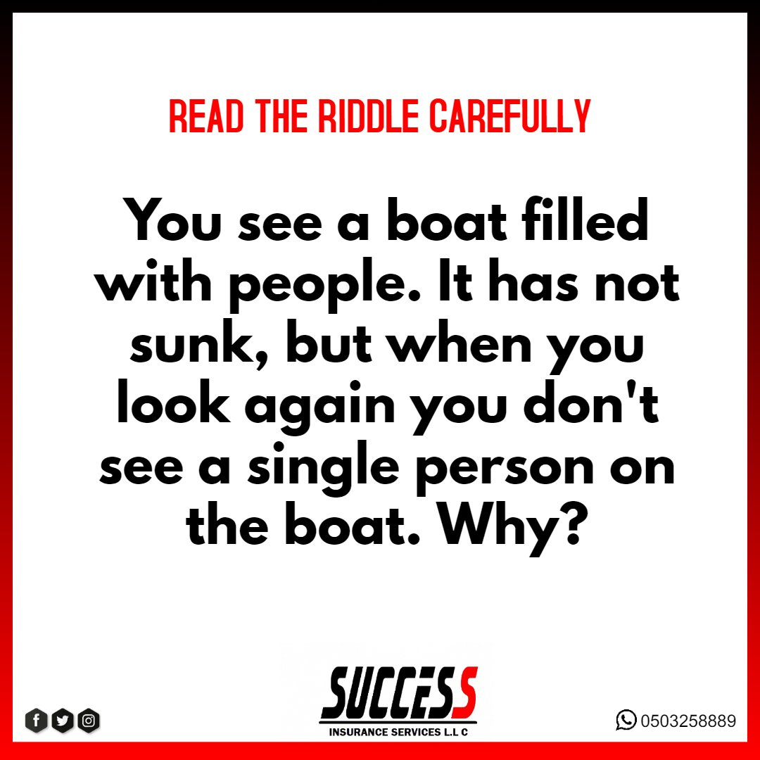 Do you know the answer? Please leave your answer in the comment section. 🤓 #FunwithSuccess  #riddle #why #guess #whatistheanswer #answer #fun #game #wordplay #saturday #comment #UAE #read #readcarefully #boat #success #SuccessInsuranceServices #insuranceUAE #insurance #broker https://t.co/8SBJpLrTET