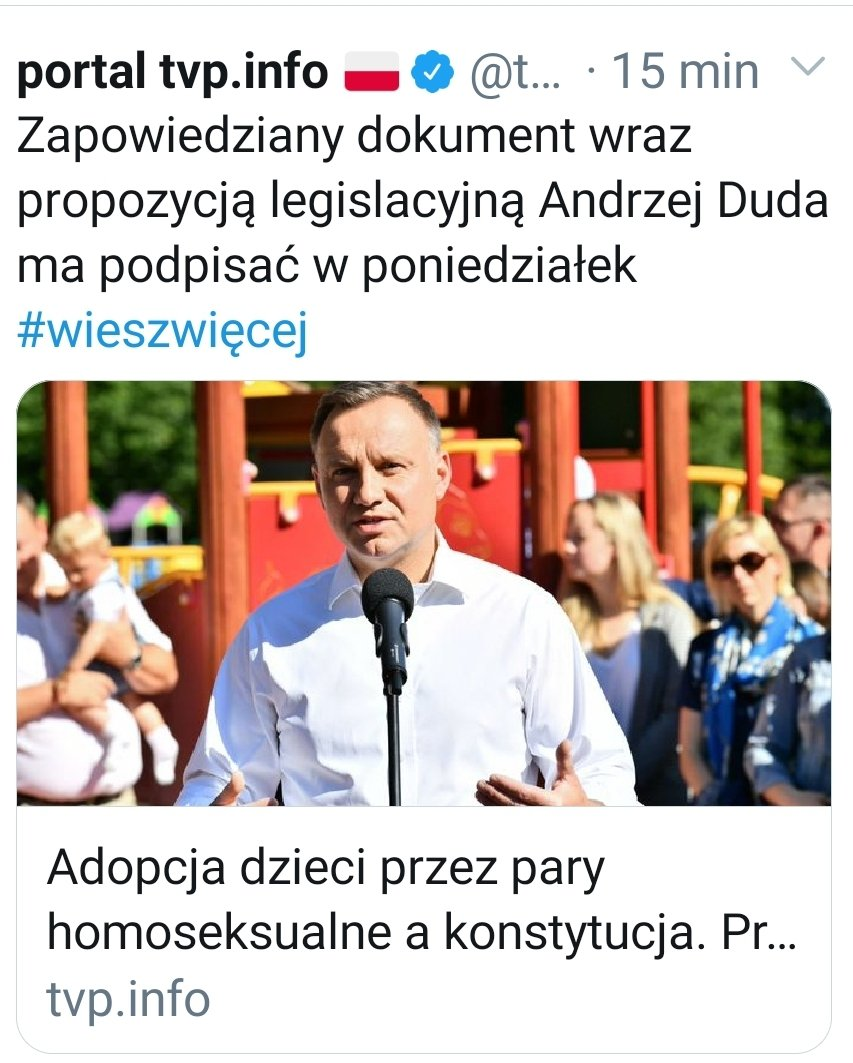 President @AndrzejDuda has just informed that on Monday he will propose a change in Polish Constitution banning same sex adoption. Rainbow families are valid and beautiful, full of love and responsibility. And they exist, also in #Poland. Be strong  #dudaisoverparty pic.twitter.com/3a5R3Z2bR7