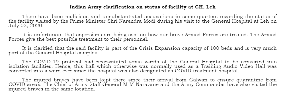 "JUST IN: Indian Army statement on what it calls ""malicious and unsubstantiated accusations"" regarding the facility where PM Modi met with injured soldiers from the Galwan incident: https://t.co/R1EXdRRfUV"