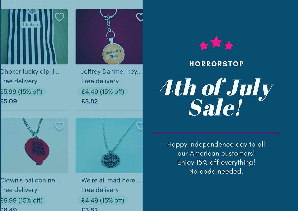 We have a huge amount of American customers & followers, so I thought we'd do a 4th of July sale! Happy Independence Day American Horrors! 15% off everything - code needed! Ends 12am 07/07! https://etsy.me/2MCjkCW  @Altfashion #4thofjulyweekend #4thJuly #Sales #alternativegirl pic.twitter.com/5r6yiYSrDG