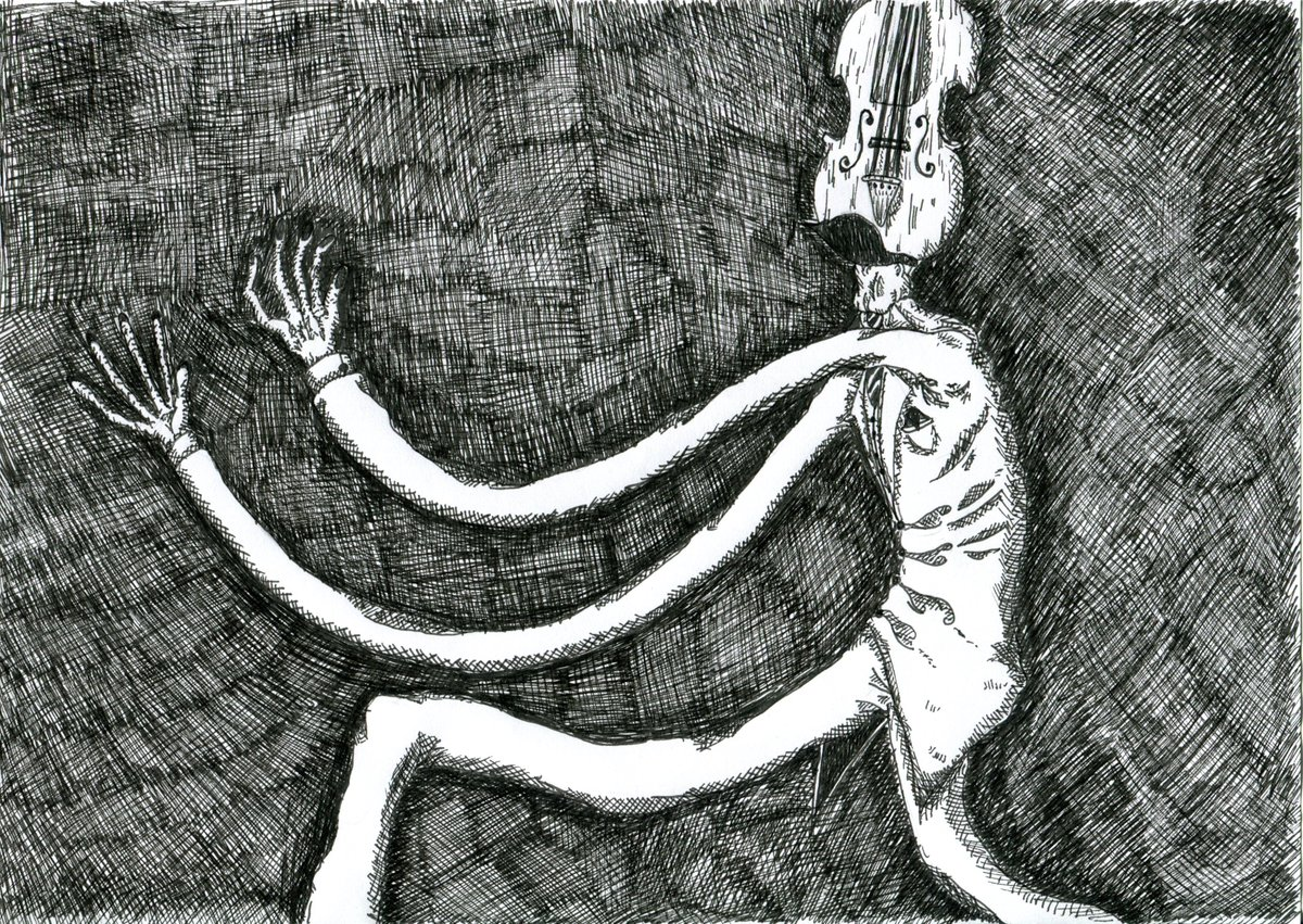 The musician approaches... #dialtown #dialtownart #horror #creepy #traditionalart #traditionaldrawing pic.twitter.com/VbGt1JayqQ