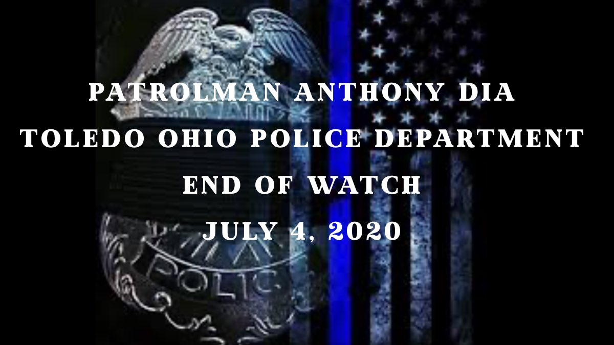 Anthony Dia, Toledo Ohio Police Department, gave his life today protecting his community.   He leaves behind a wife, 2 year old child, and 688,000 brothers and sisters in blue.  May God Bless them all.  Rest In Peace Officer Dia.  #BackLivesMatter #BackTheBlue https://t.co/mmtG118C3c