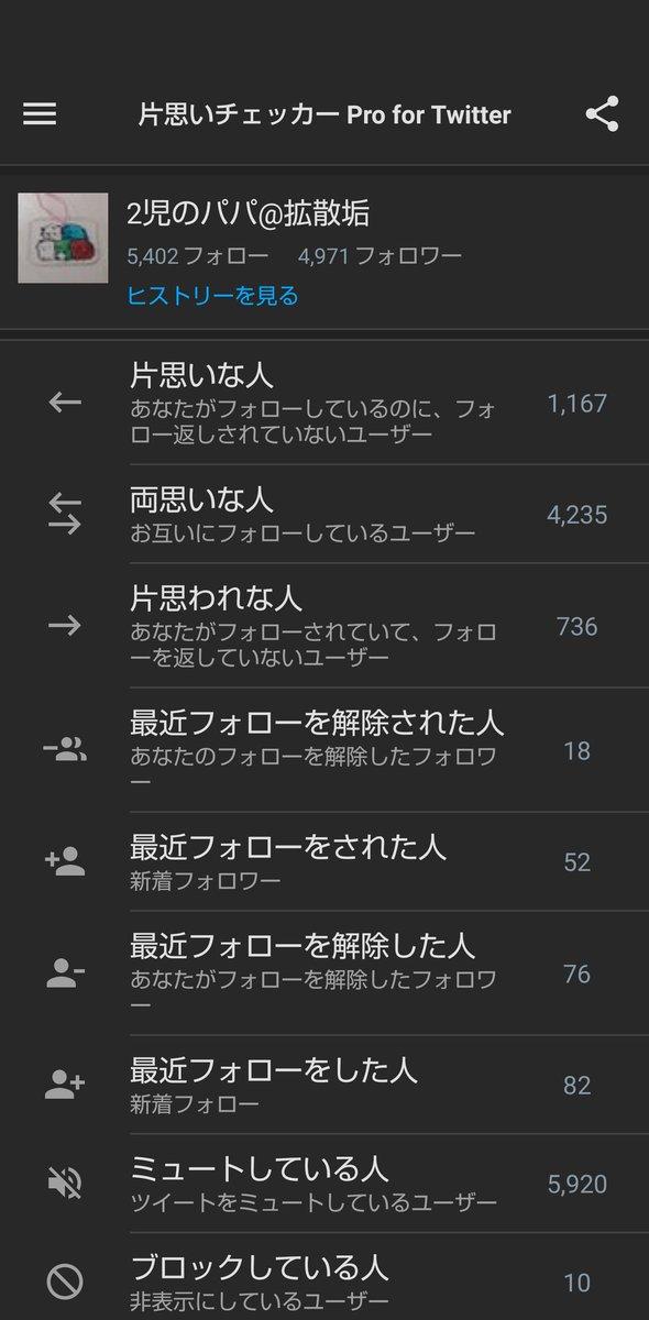 チェック完了!片思いな人:1,167人両思いな人:4,235人片思われな人:736人でした!片思いチェッカー Pro for Twitter