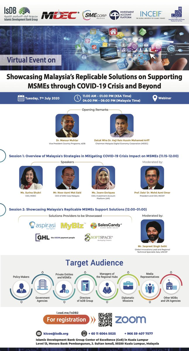 Join us and learn about the solutions and support for MSMEs to survive and thrive through the COVID-19 pandemic. REGISTER NOW AT https://t.co/gDv9XlyNEh  Date: Tuesday, 7 July 2020 Time: 4.00PM  #BersamaMenjanaEkonomi #DigitalLeap  @kkmm_gov  @raishussin  @iSurinaShukri https://t.co/kFwb8uSD0z