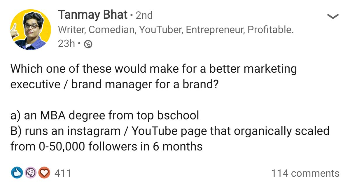 Noticed this question by @thetanmay on LinkedIn. Guess what the replies would be, on a platform where people wear their CVs on their sleeve. :) https://t.co/VhORrAvy7r