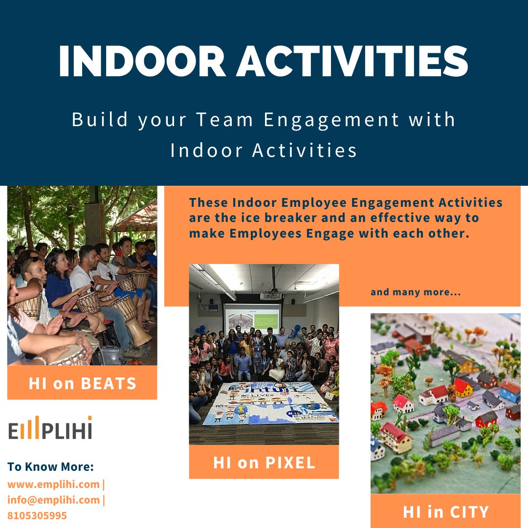 Activities to help boost engagement, build relationships and improve collaboration at work. Know More :- https://www.emplihi.com/indoor-activities … #virtualevent #teamwork #teambuilding #teambuildinggames #virtualActivity #virtualengagement #virtualprogram #employeeengagementpic.twitter.com/4f0WiHiQdP