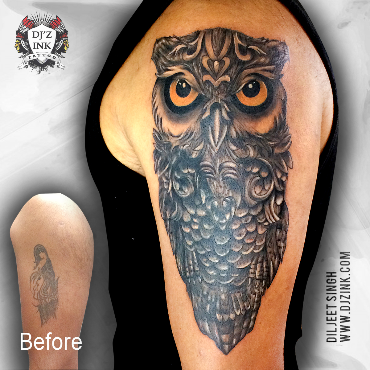 The wise old owl: a representation of wisdom and good judgement. They are amazing skilled hunters, thinkers and planners. Like an owl, be adaptable under pressure and accept change. #owltattoo #owl #owltattoodesign #coveruptattoo #tattoodesigns  #djzinktattoostudiopic.twitter.com/nsZhAUmUYt