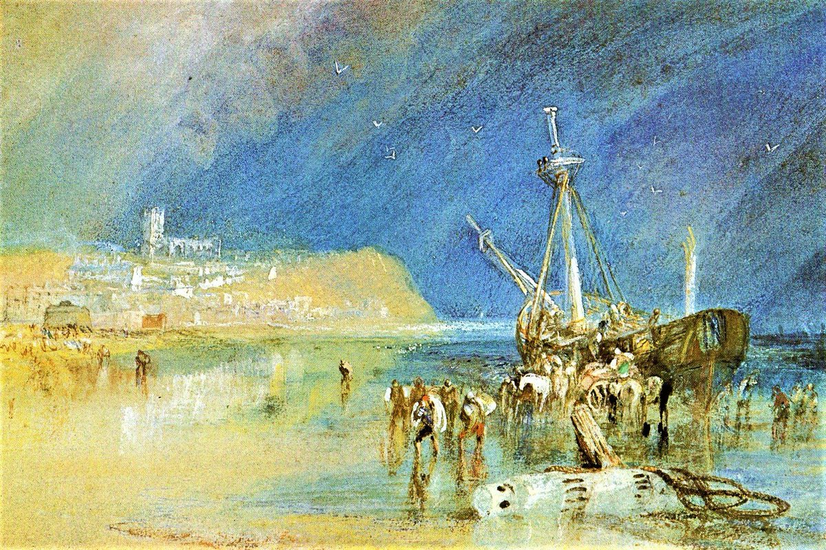 Aldeburgh (1827) by J.M.W Turner. On the left in this watercolour is the Martello tower built c1810 as a defence against invasion by the French. The tower was incorporated into an artwork by Anthony Gormley in 2015. #ArtHistory #Painting #JMWTurner https://t.co/0GopeZBHUV