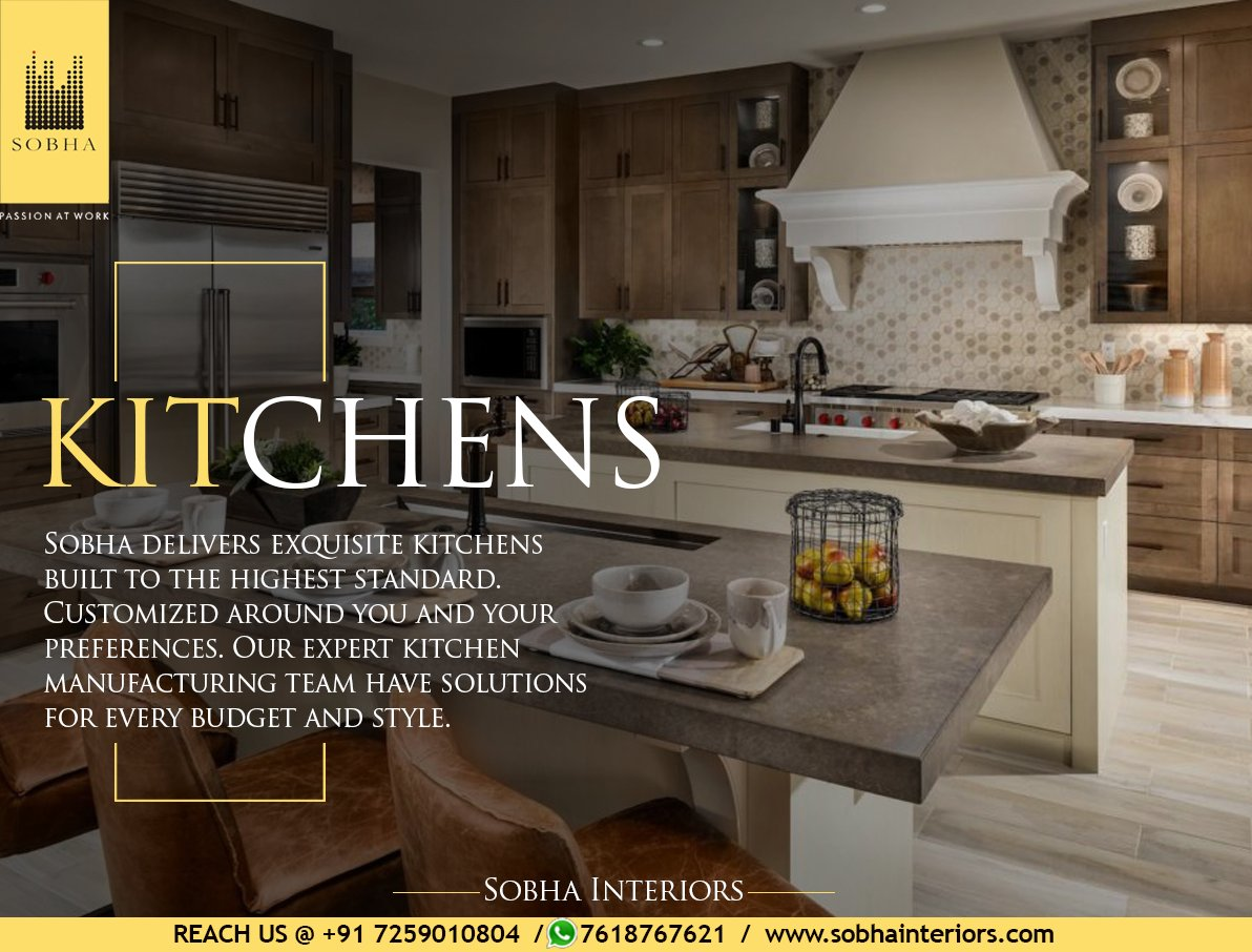 Quality guaranteed, with our talented designers and craftsmen we design your kitchen with a stylish touch. Visit http://sobhainteriors.com/ or contact 7259010804 / 7618767621 for more details. #Sobhainterirors #homesweethome #designers #peace #delightful #home #homedecor #dreamhomepic.twitter.com/Fi4iEmnYey
