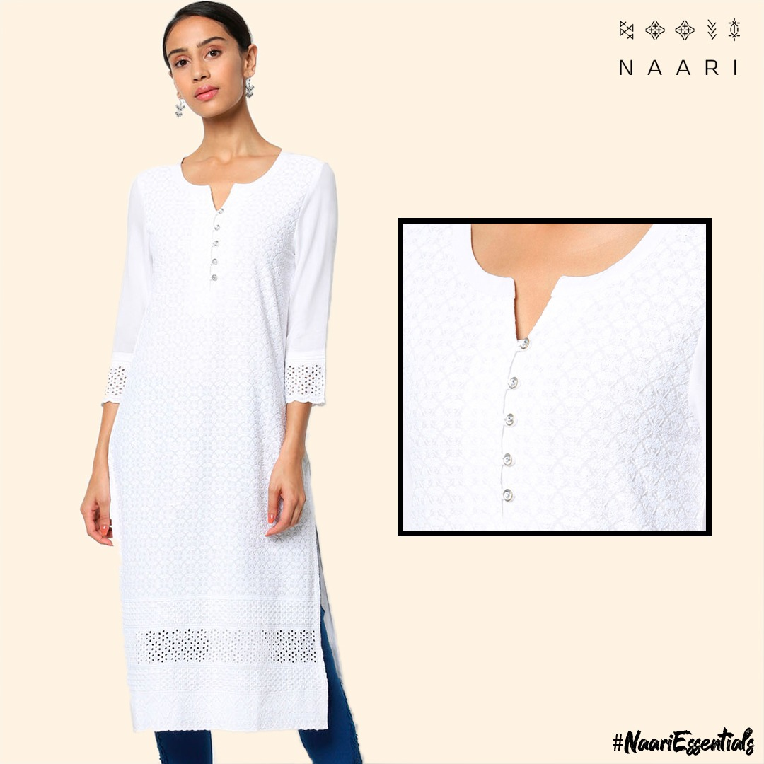A classy look for all the women out there. Containing attractive round neck line with dori & tassels, it has ideal cut work filled with glamour.  . #SpringSummerCollection #NewArrivals #WhiteKurti #Embroidery #Naari #EthnicWear #OfficeWear #Everyday #NaariKurta #WomensWearpic.twitter.com/djx65Uz65A