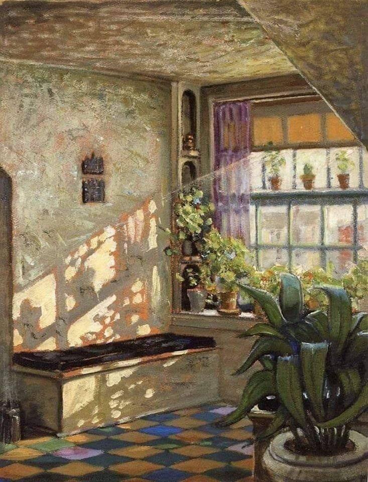Grant Wood  The Sun Shine On The Corner, 1928 #grantwood #american #sun #painting #fineart #arthistory #dailyart #artwork #oilpaintings #artoftheday #impressionism #postimpressionism  #artinfinitus #italy #museelouvre #england #paris #france #SaturdayMorning #weekendsunshine https://t.co/DwXcvhV3Vu