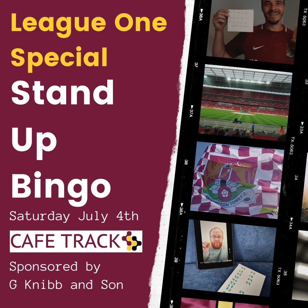 It is #standupbingo day!! Come and join the fun. Just four hours until Kick Off buymeacoffee.com/cafetrack Made in Northampton played around the World