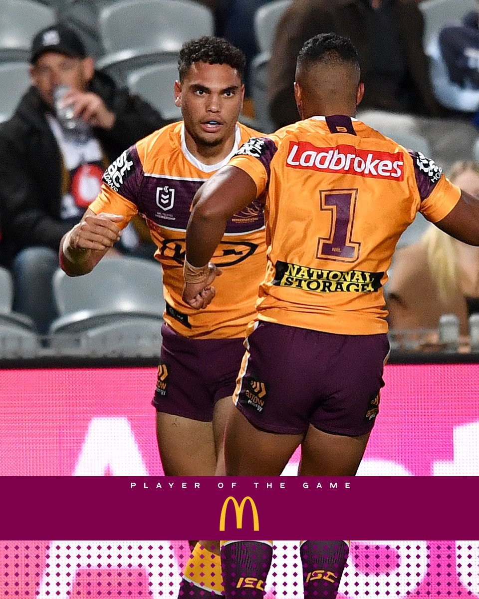 Congrats Xavier Coates our @maccas Player of the Match thanks to the Broncos Burger supporting families with sick kids, 50c from every burger goes to Ronald McDonald House SEQ https://t.co/Rvt4kfzZAD