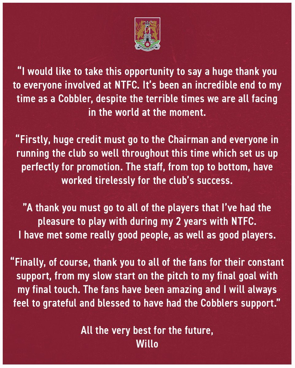 💬 Andy Williams has asked us to pass on the following message...