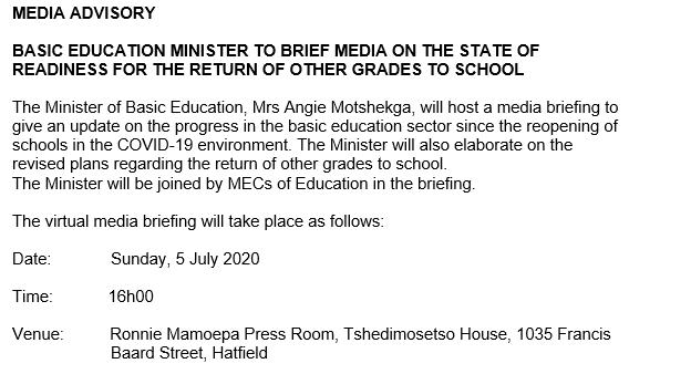 The @DBE_SA will brief media and the public tomorrow @ElijahMhlanga @HubertMweli #BasicEducation #day100oflockdown