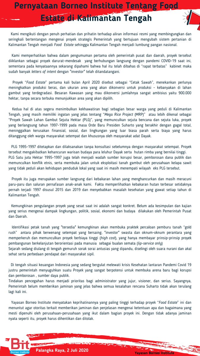 #FoodEstate #CetakSawah Pernyataan #BorneoInstitute #Kalteng https://t.co/oS20XTnliU