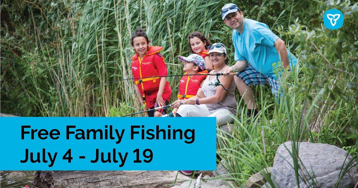 #FamilyFishingWeek is on now! 🎣  Fishing is free in Ontario until July 19th.   Looking for a local fishing spot? Check out https://t.co/y4UXC8nw3o    #FishSafeON #KeepCanadaFishing #NationalFishingWeek #FFW2020 #FishOntario https://t.co/jktbKoCiGU