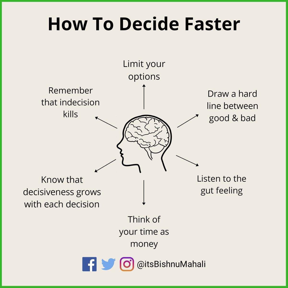 A mindset for making faster decision.   #mind #mindset #entrepreneur #entrepreneurmindset #leadership #mindsetiseverything ##positivemindset #persistence #mindsetiskey #posibilities #changeyourlife #changeyourmind #revolutionpic.twitter.com/nYoaYh2pVZ