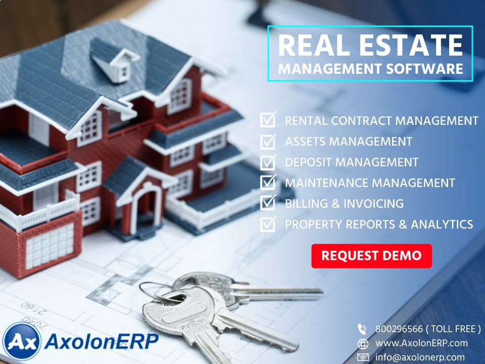 Axolon Real Estate Management software allows you to seamlessly manage your real estate business from one single platform.  800296566.  #RealEstateManagementsoftware #RealEstateManagement #RealEstate #RealEstateManagementsolution #ERP #ERPSoftware #ERPSolution #Dubai #UAEpic.twitter.com/aBVIjK3UhO