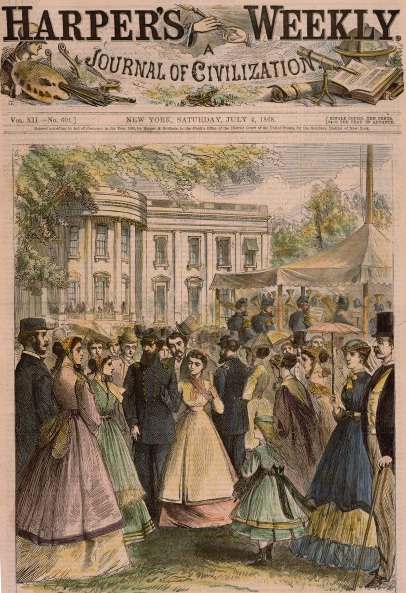 The United States Marine Band gave summer concerts on the South Lawn of the White House. This illustration of a Fourth of July celebration from 1868 depicts how nineteenth-century Americans celebrated the Fourth at the White House. 4/4 Image: White House Collection