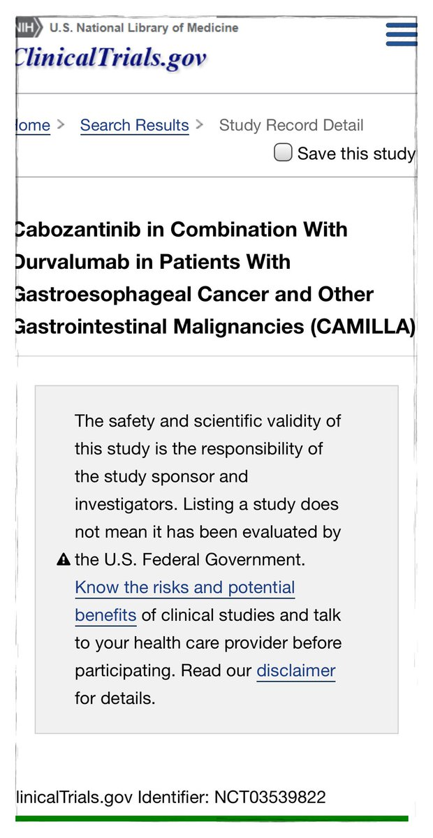 @AnwaarSaeed3 @myESMO @OncoAlert @AnwaarSaeed3 let us know if @UIowaCancer could be a site as well. #WorldGI2020 #ClinicalTrials #HPBCSM #CRCSM #STCSM #ESOCSM Another intriguing  #immunotherapy  ➕ 💊  (CABO) https://t.co/WHXMybVDIm