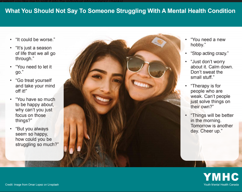What NOT to say to someone who is struggling with #mentalhealth #mentalwellness #mentalillness #depression #anxiety What to say: words of #compassion #empathy #support What to do: listen, buy food/flowers, invite for walk #cdnpoli #COVID19 #SelfCareSaturday #communitycare #ymhc<br>http://pic.twitter.com/AMnbzkkFJy