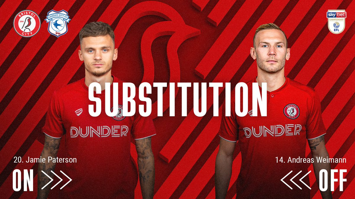 🔄 First change for the Robins! #BRCCAR 🔴 0-0 🔵 [58]