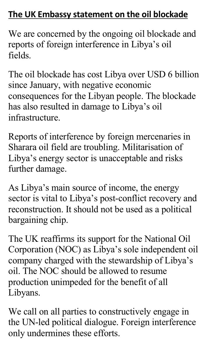 The #UK 🇬🇧 reaffirms its support for the National Oil Corporation @NOC_Libya, as #Libya's sole independent oil company charged with the stewardship of Libya's oil. The NOC should be allowed to resume production unimpeded for the benefit of all Libyans. https://t.co/QD3VWoqLIO