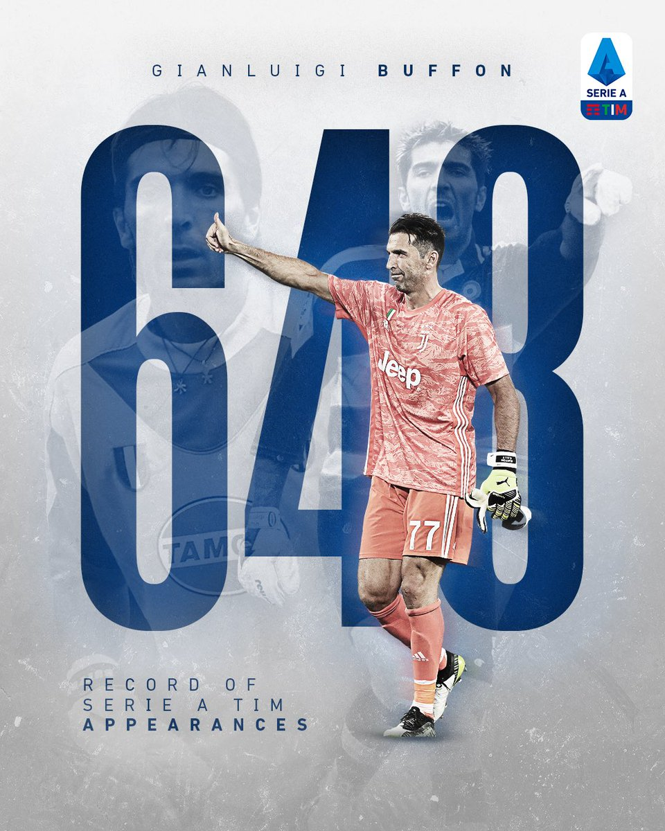 6⃣4⃣8⃣! 🙌 @gianluigibuffon writes #SerieATIM history, breaking the all-time appearances record. 🔝 Well done Gigi! #WeAreCalcio