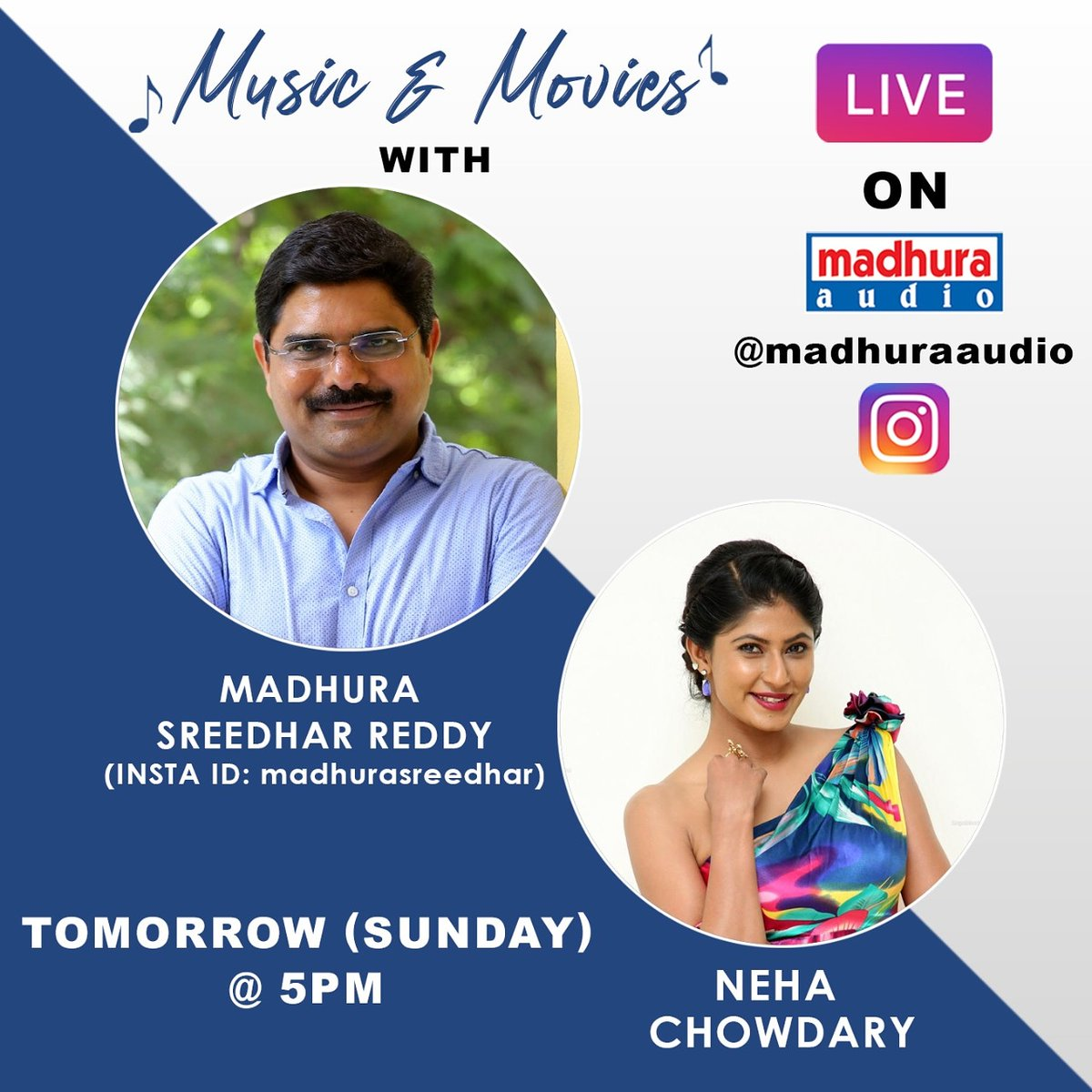 Look Here Who's Joining With Us In Live The Most Lovable Person And Producer @madhurasreedhar Garu Will Be In Live With Anchor @thenehachowdary Tomorrow  @ 5 PM Stay Tuned To @MadhuraAudio Insta Handle  #YoursMusically #yoursmusically #telugumusically #TeluguMusic  #madhuraaudiopic.twitter.com/Szlzpw7Q0E