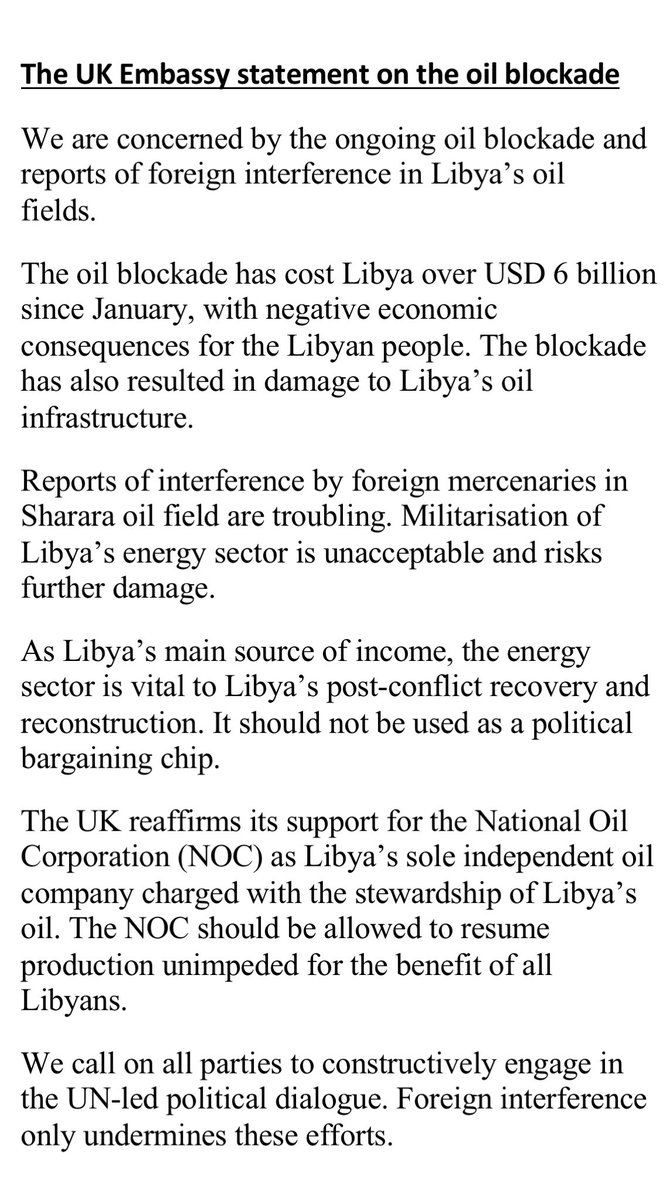 .Reports of interference by foreign mercenaries in Sharara oil field are troubling. Militarisation of #Libya's energy sector is unacceptable and risks further damage. It should not be used as a political bargaining chip. https://t.co/W8K8Df0t8a