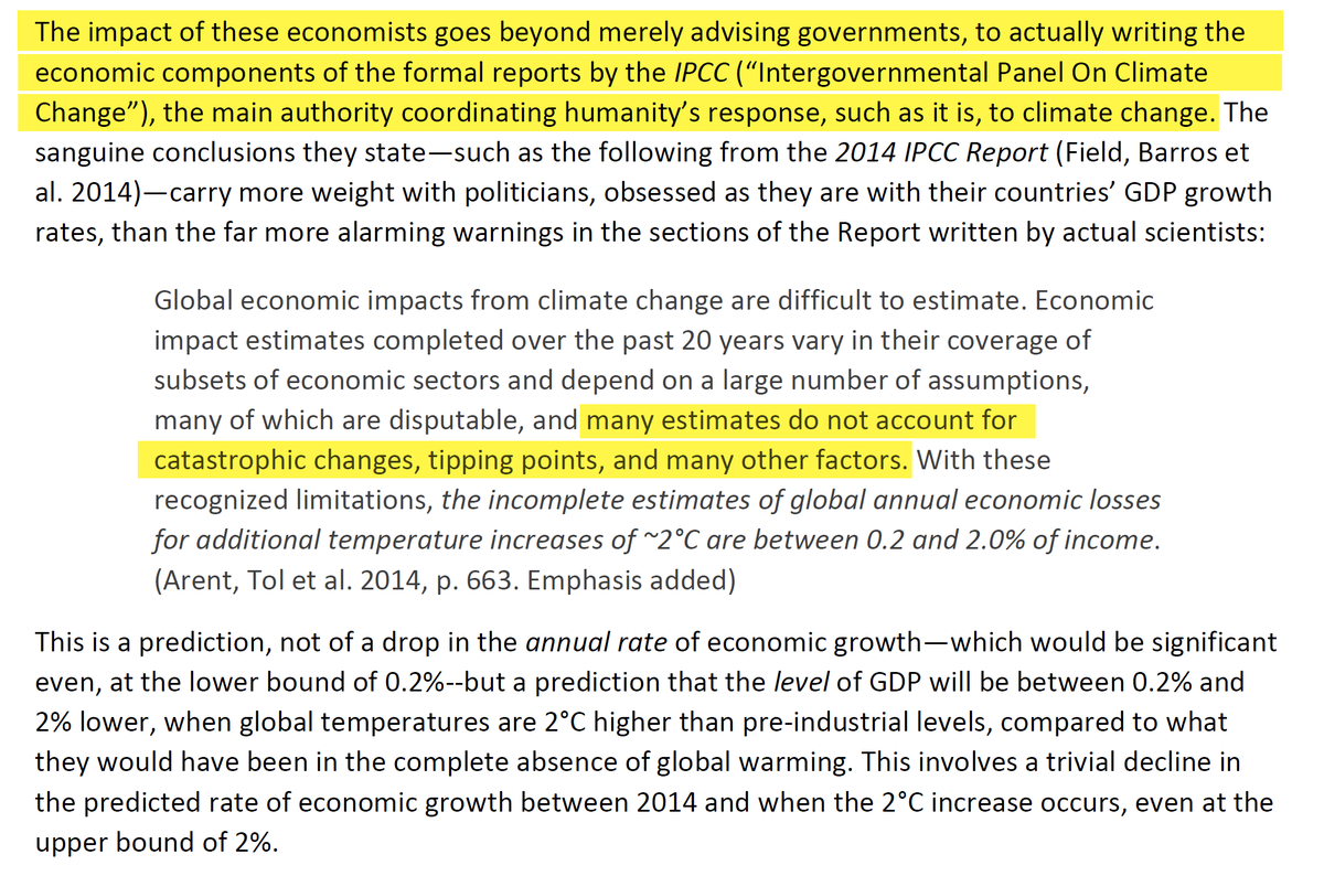 """10/44 Of course they also write for the IPCC. Paraphrased: """"Assuming no real damage from climate change, the cumulative damage from climate change is estimated to between 0.2% and 2% income."""" """"Nothing like the coronavirus bro!"""""""