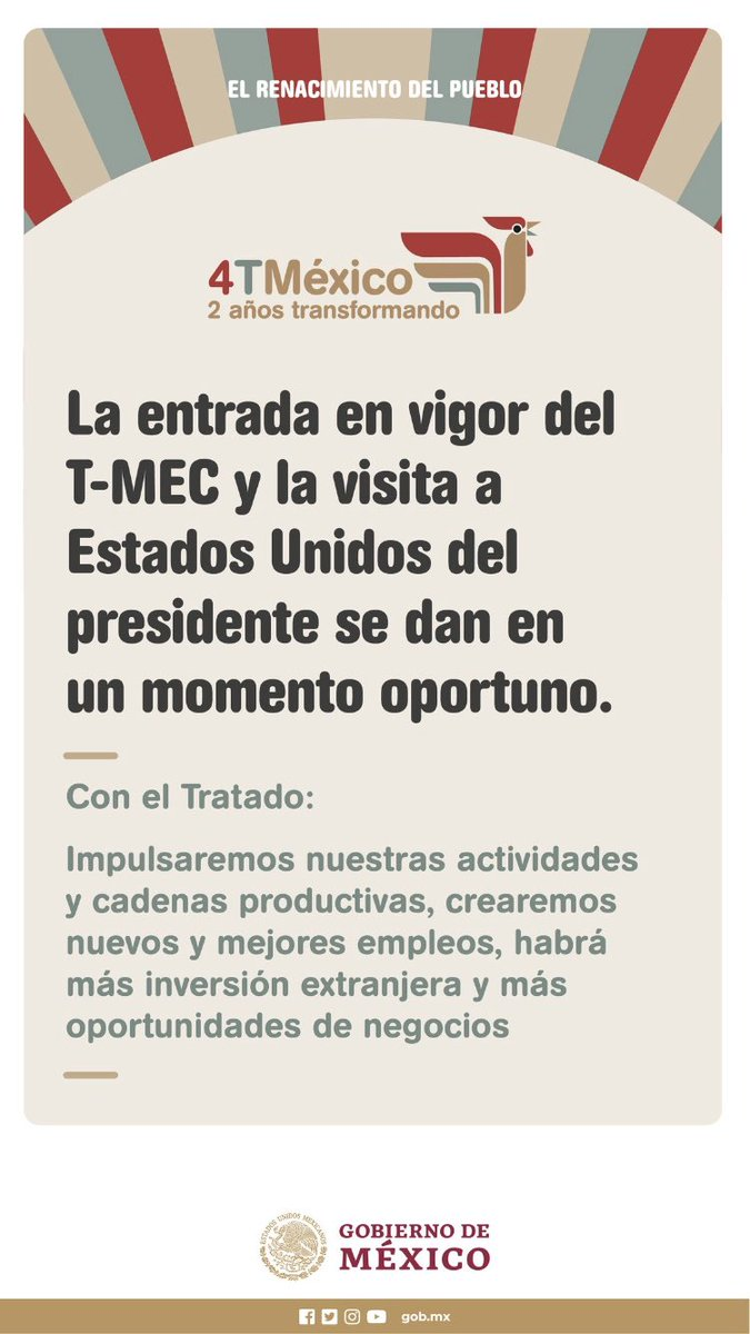 Además, con la entrada en vigor del T-MEC tendremos estas oportunidades: https://t.co/AlIWP88e7L