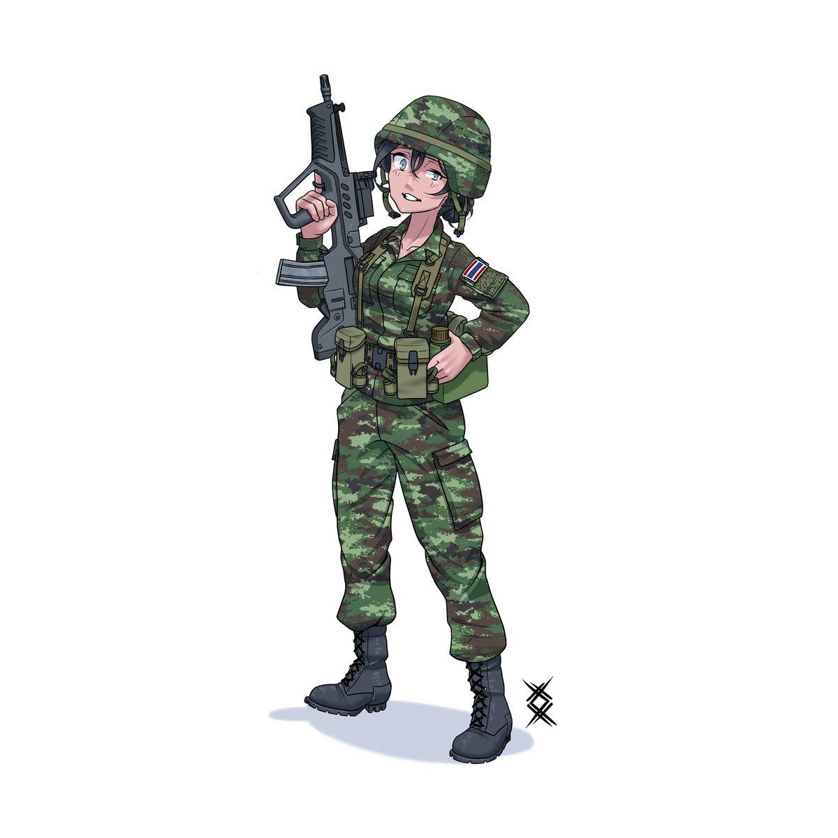 Thai army girl, commission for @Distant_Witness   #thailand #tar21 #camouflage #animegirl #art #commissionartpic.twitter.com/YdHMS6I47b